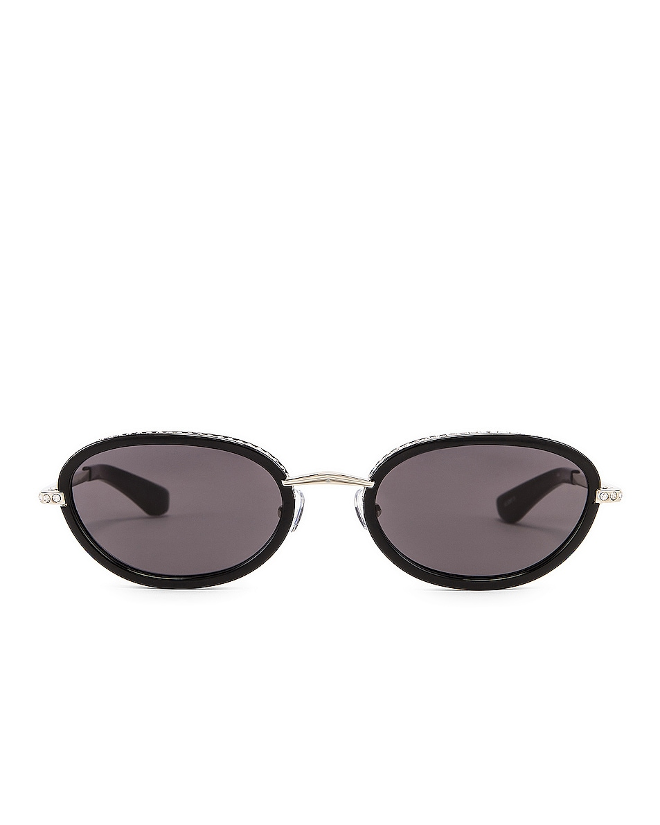 Image 1 of AREA Crystal Oval Sunglasses in Black & Grey