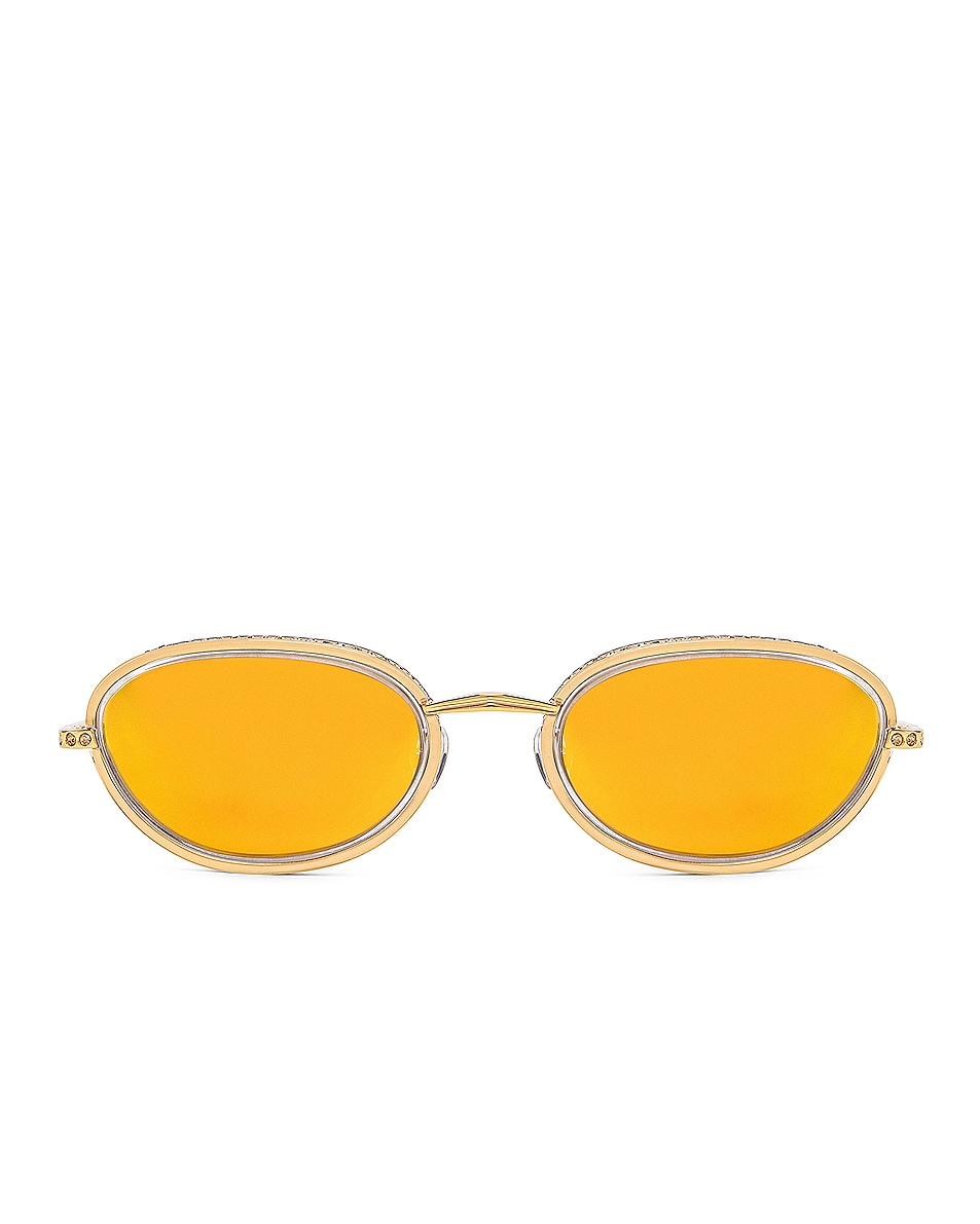 Image 1 of AREA Crystal Oval Sunglasses in Yellow & Gold
