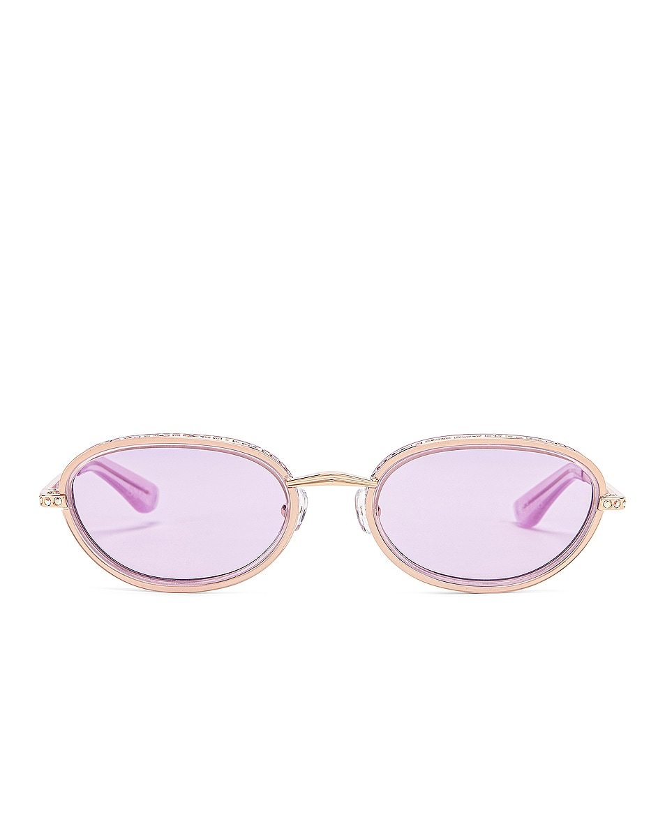 Image 1 of AREA Crystal Oval Sunglasses in Lilac & Light Gold