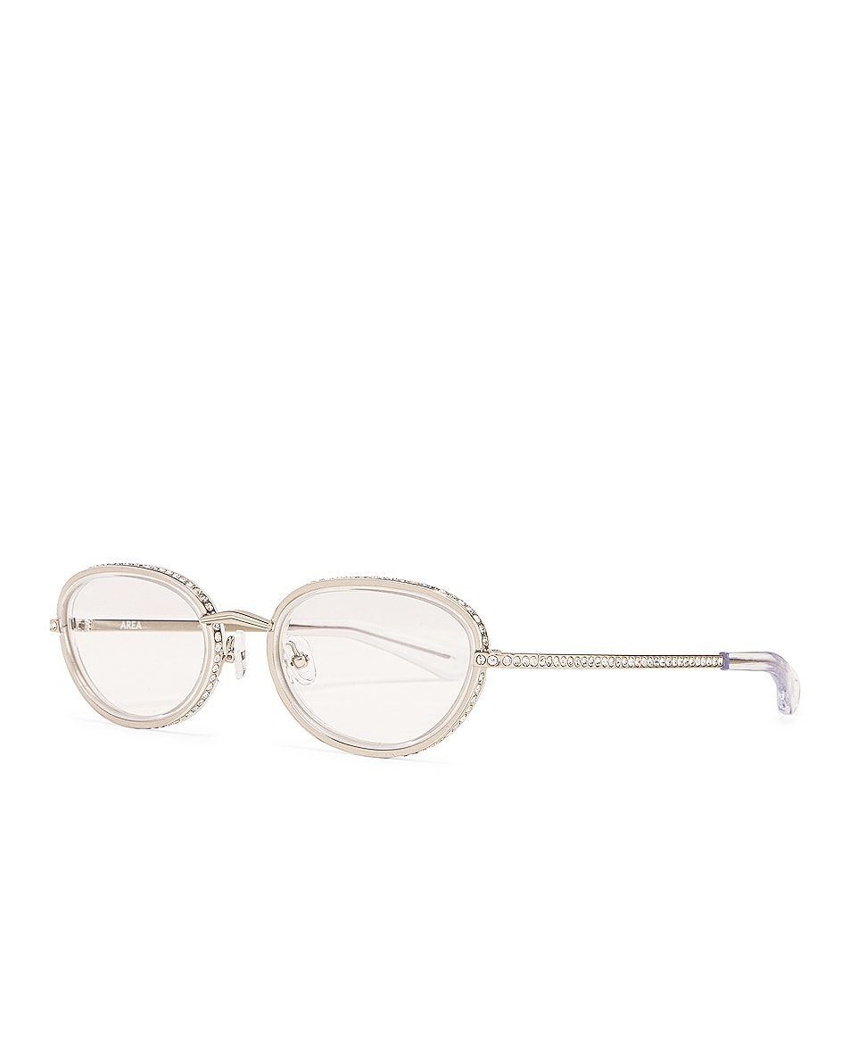 Image 2 of AREA Crystal Oval Optical Glasses in Clear & Silver