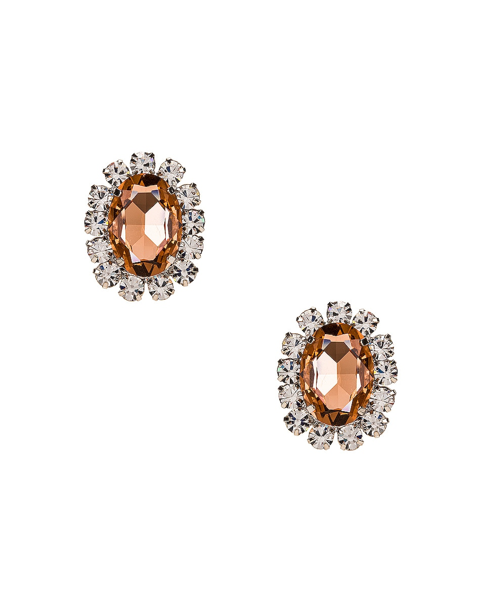 Image 1 of AREA Costume Gemstone Earrings in Peach