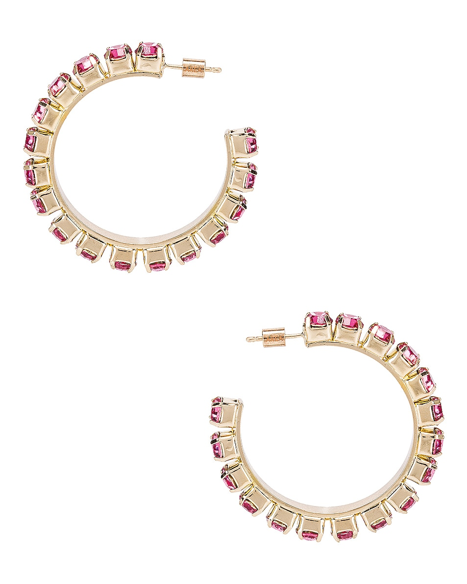 Image 1 of AREA Medium Round Hoop Earrings in Pink