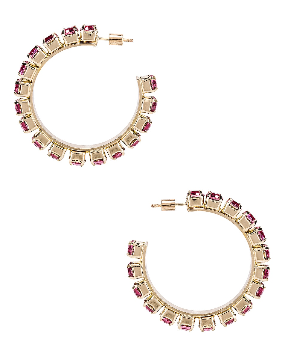 Image 4 of AREA Medium Round Hoop Earrings in Pink