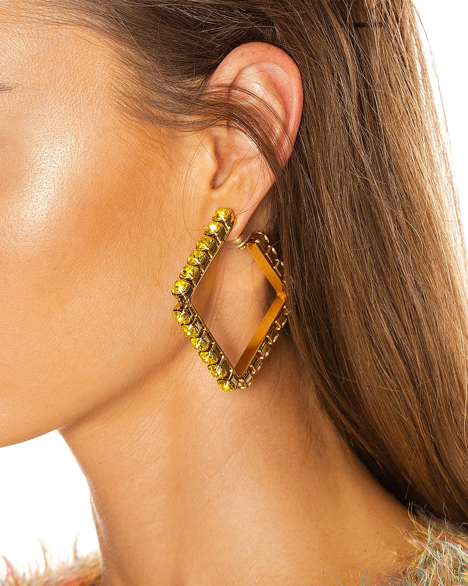 Image 2 of AREA Medium Square Hoop Earrings in Fluo