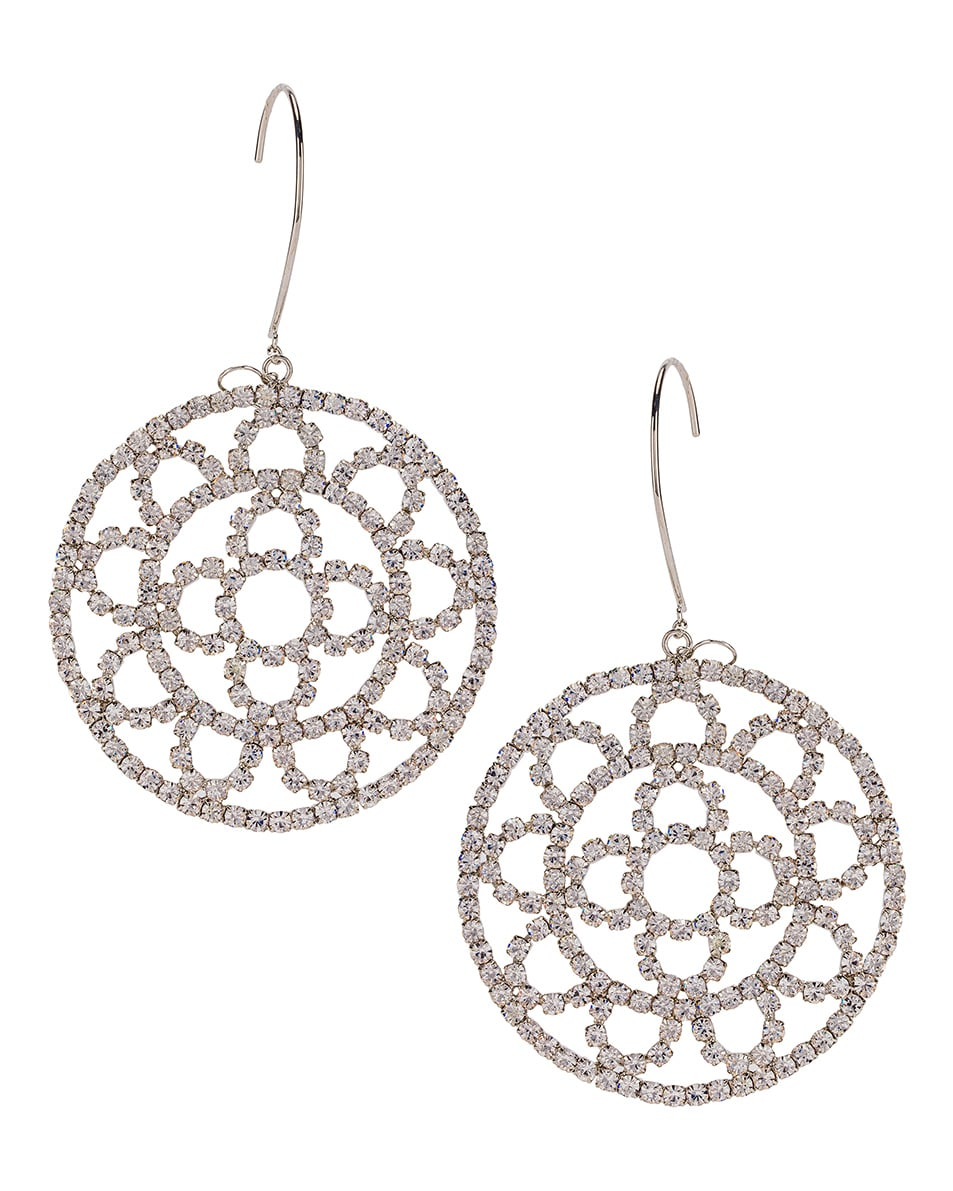 Image 1 of AREA Crystal Cupchain Crochet Earrings in Silver & Clear Crystal