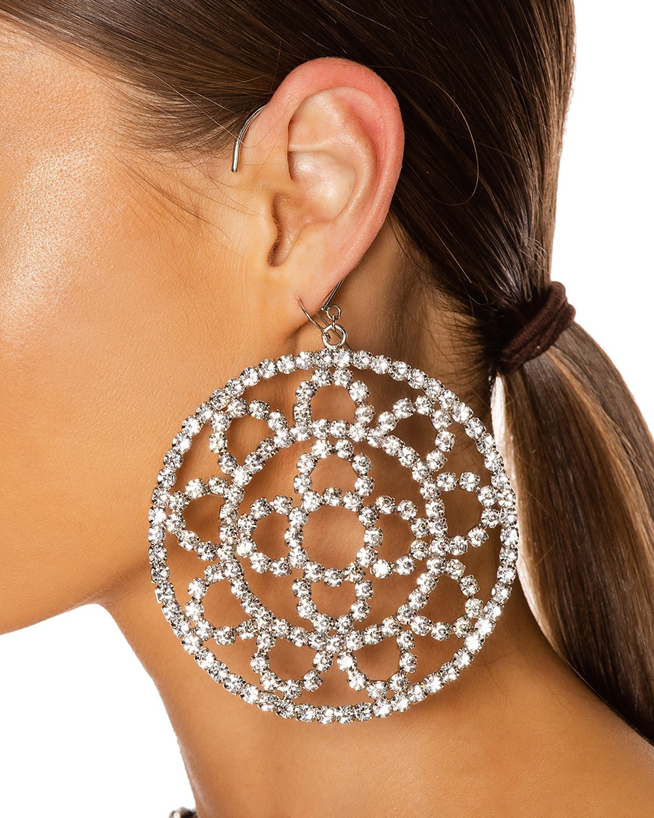 Image 2 of AREA Crystal Cupchain Crochet Earrings in Silver & Clear Crystal