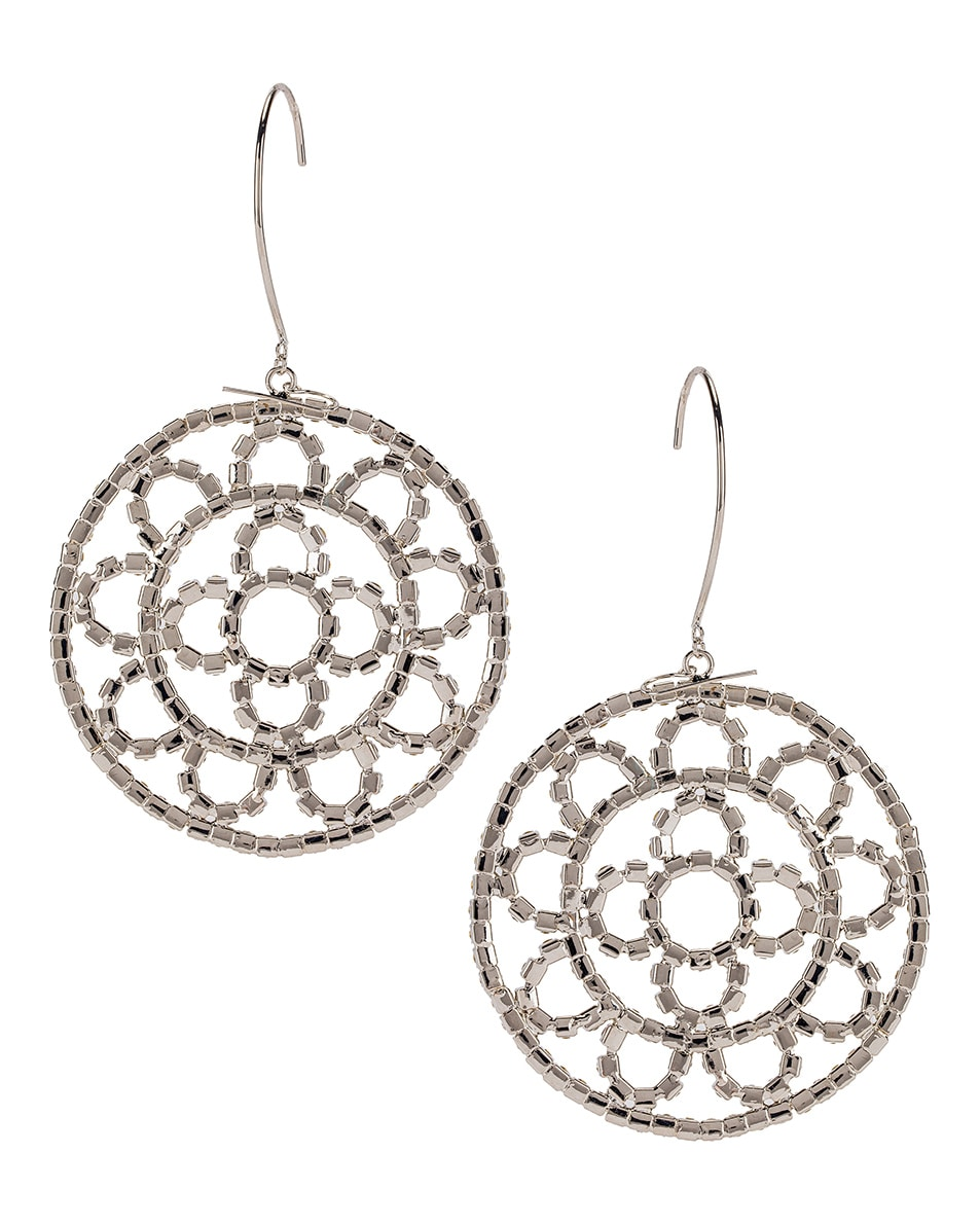 Image 4 of AREA Crystal Cupchain Crochet Earrings in Silver & Clear Crystal