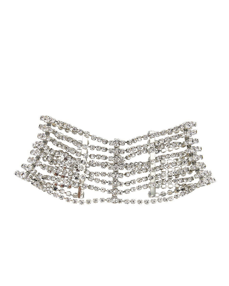 Image 1 of AREA Draped Cupchain Choker in Clear & Silver