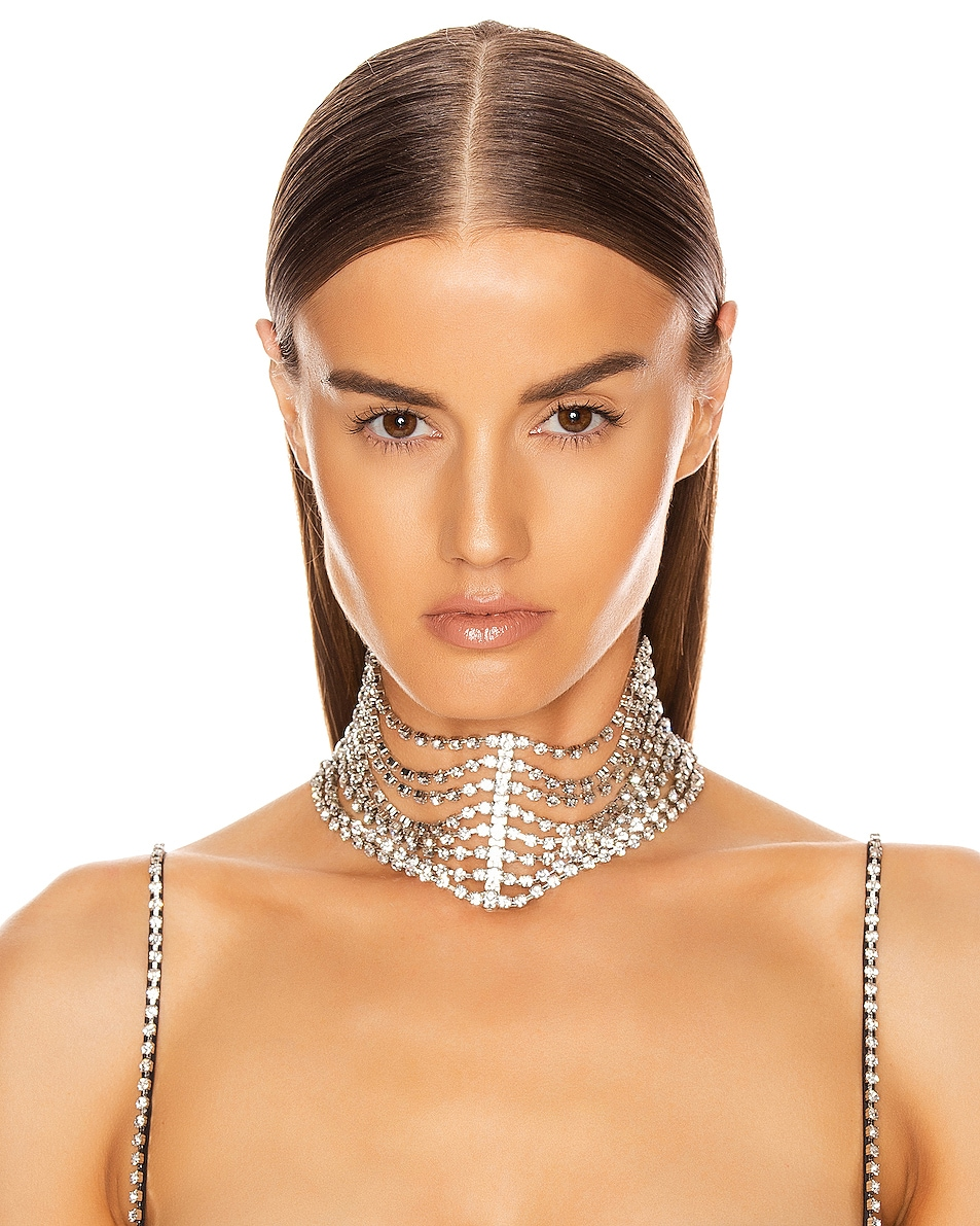 Image 2 of AREA Draped Cupchain Choker in Clear & Silver