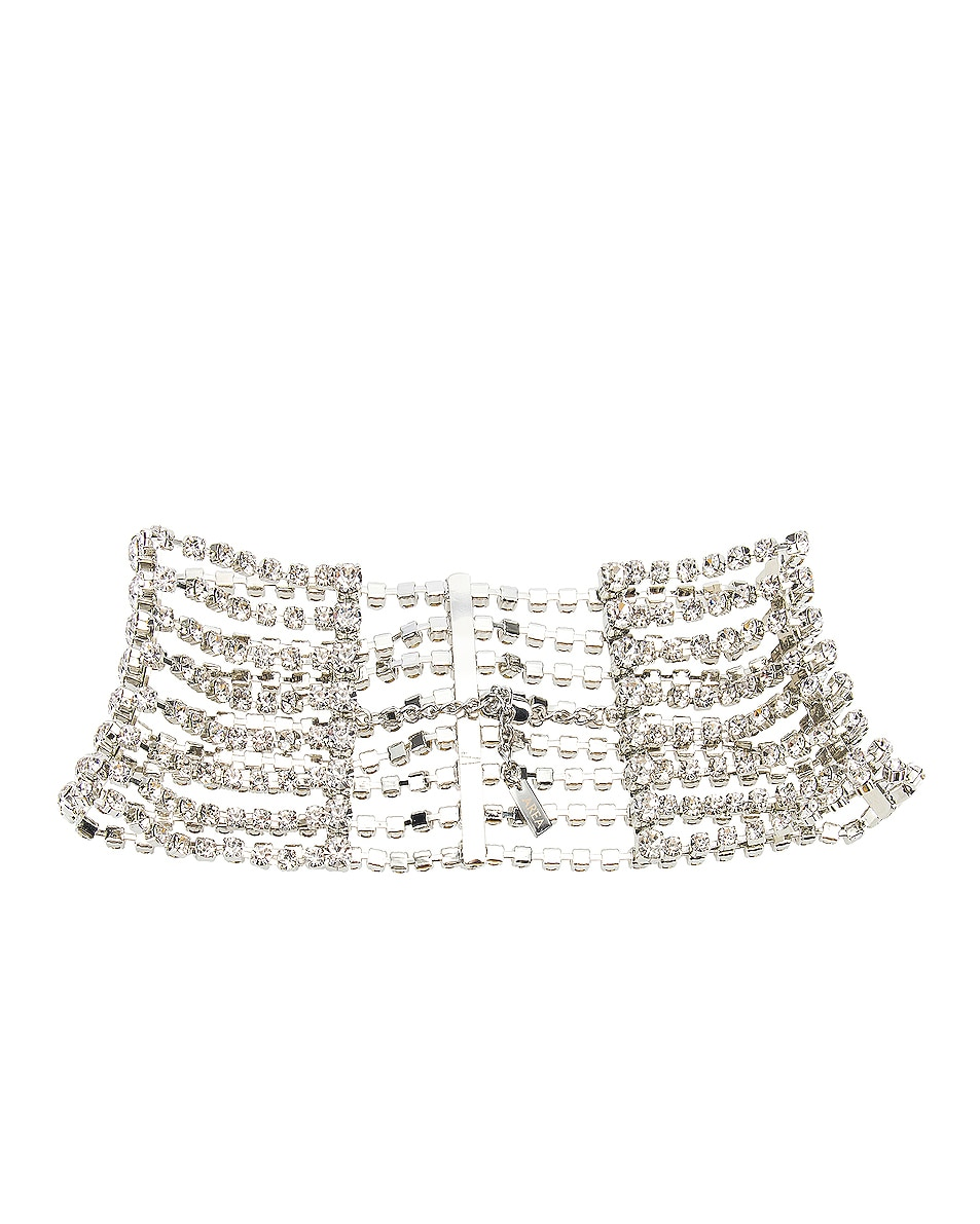 Image 3 of AREA Draped Cupchain Choker in Clear & Silver