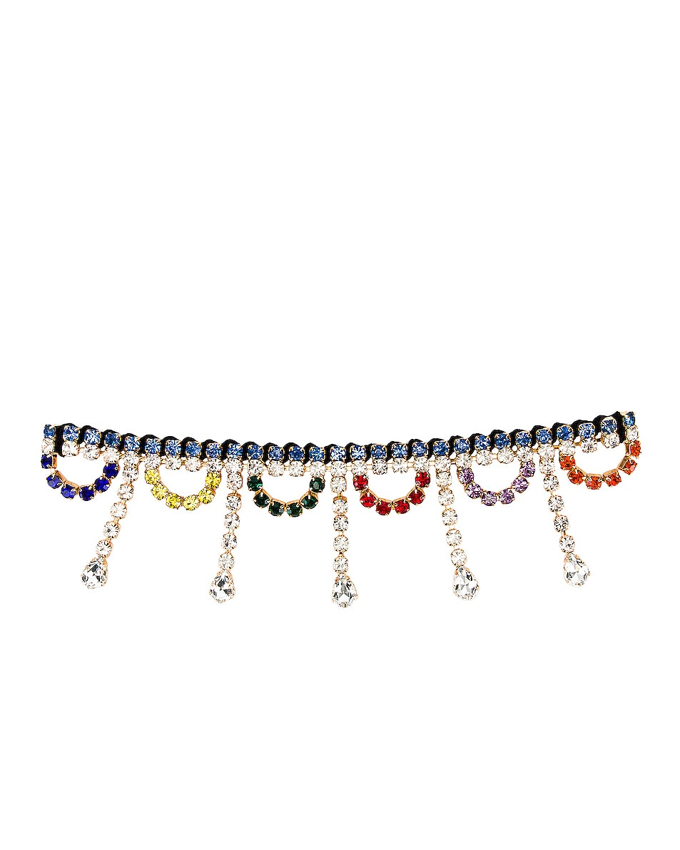 Image 1 of AREA Scalloped Crystal Drop Choker in Multi