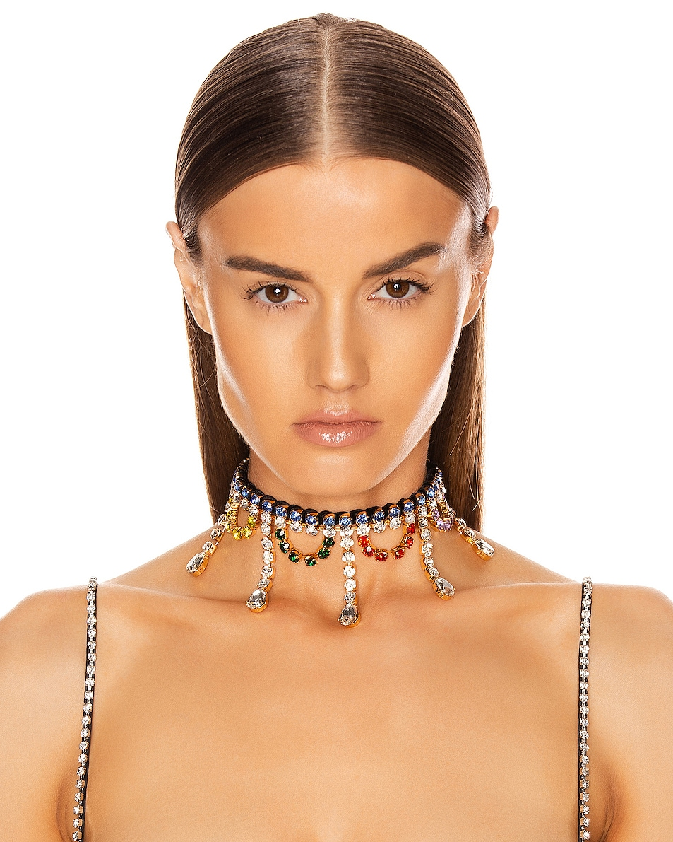 Image 2 of AREA Scalloped Crystal Drop Choker in Multi