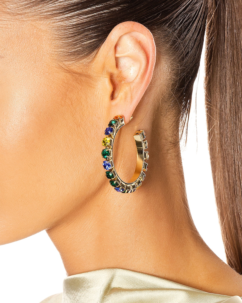 Image 2 of AREA Medium Round Hoop Earrings in Gold & Multi