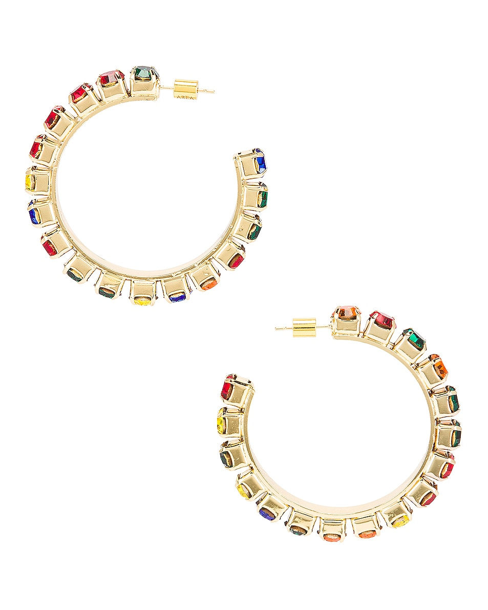 Image 3 of AREA Medium Round Hoop Earrings in Gold & Multi