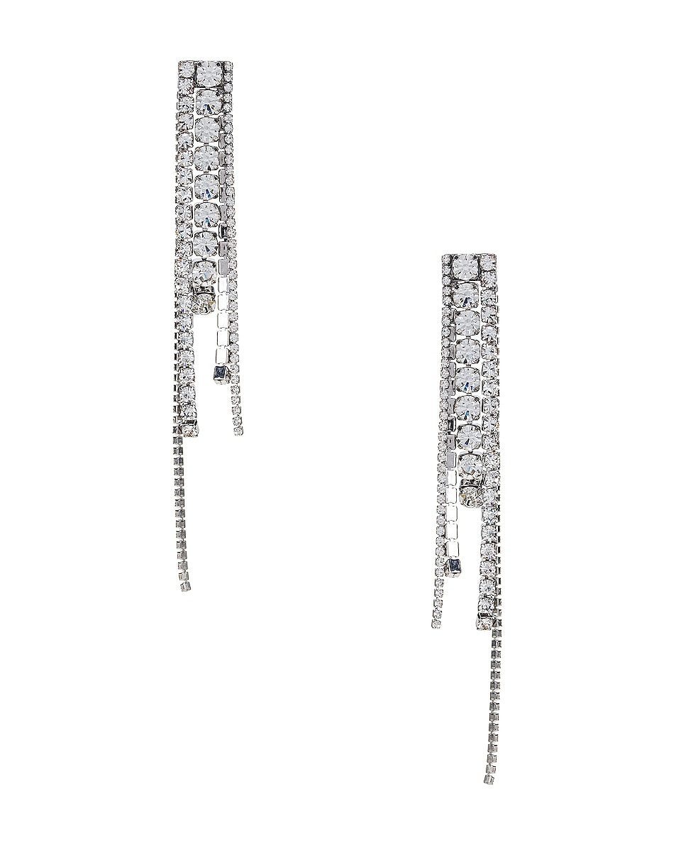 Image 1 of AREA Chandelier Earrings in Silver & Clear