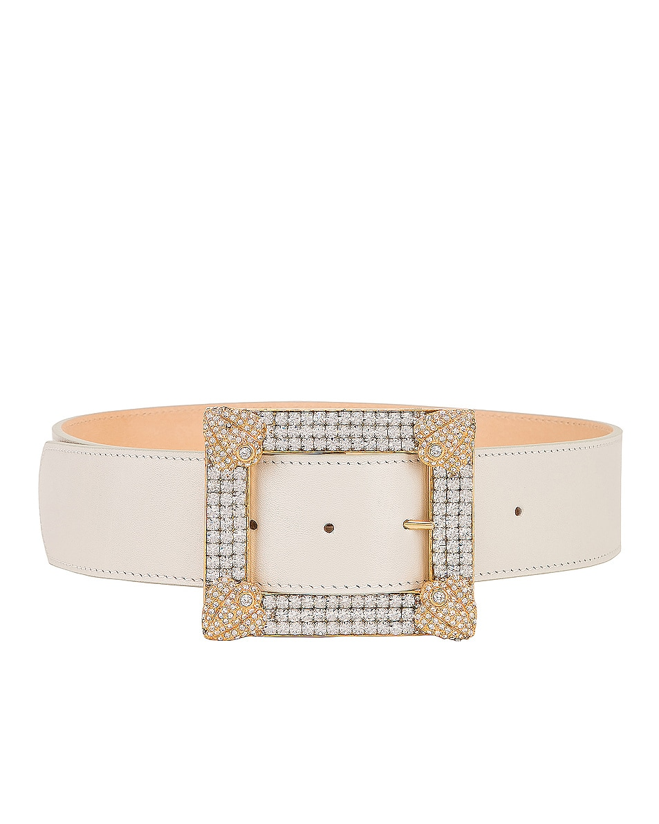 Image 3 of Alessandra Rich Leather Gold Buckle Belt in White