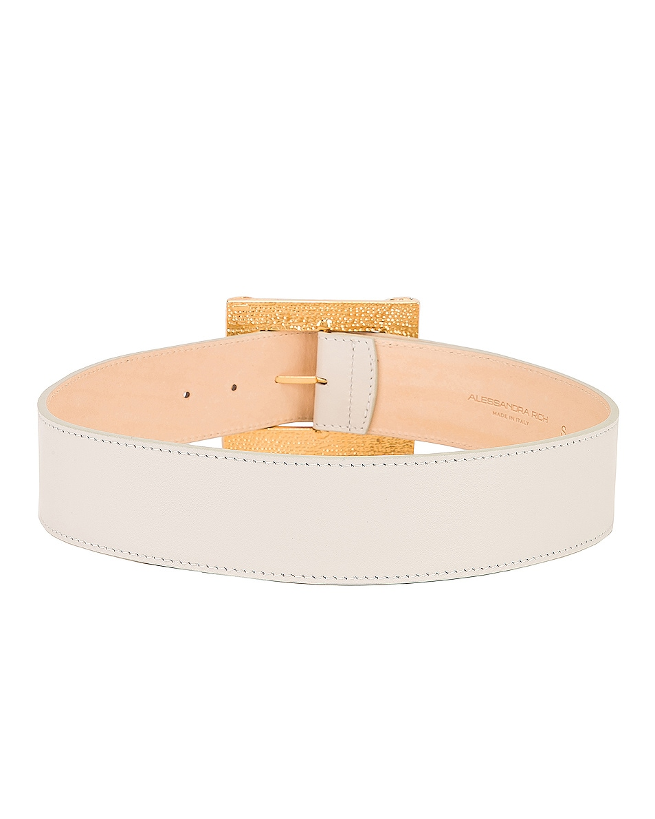 Image 4 of Alessandra Rich Leather Gold Buckle Belt in White