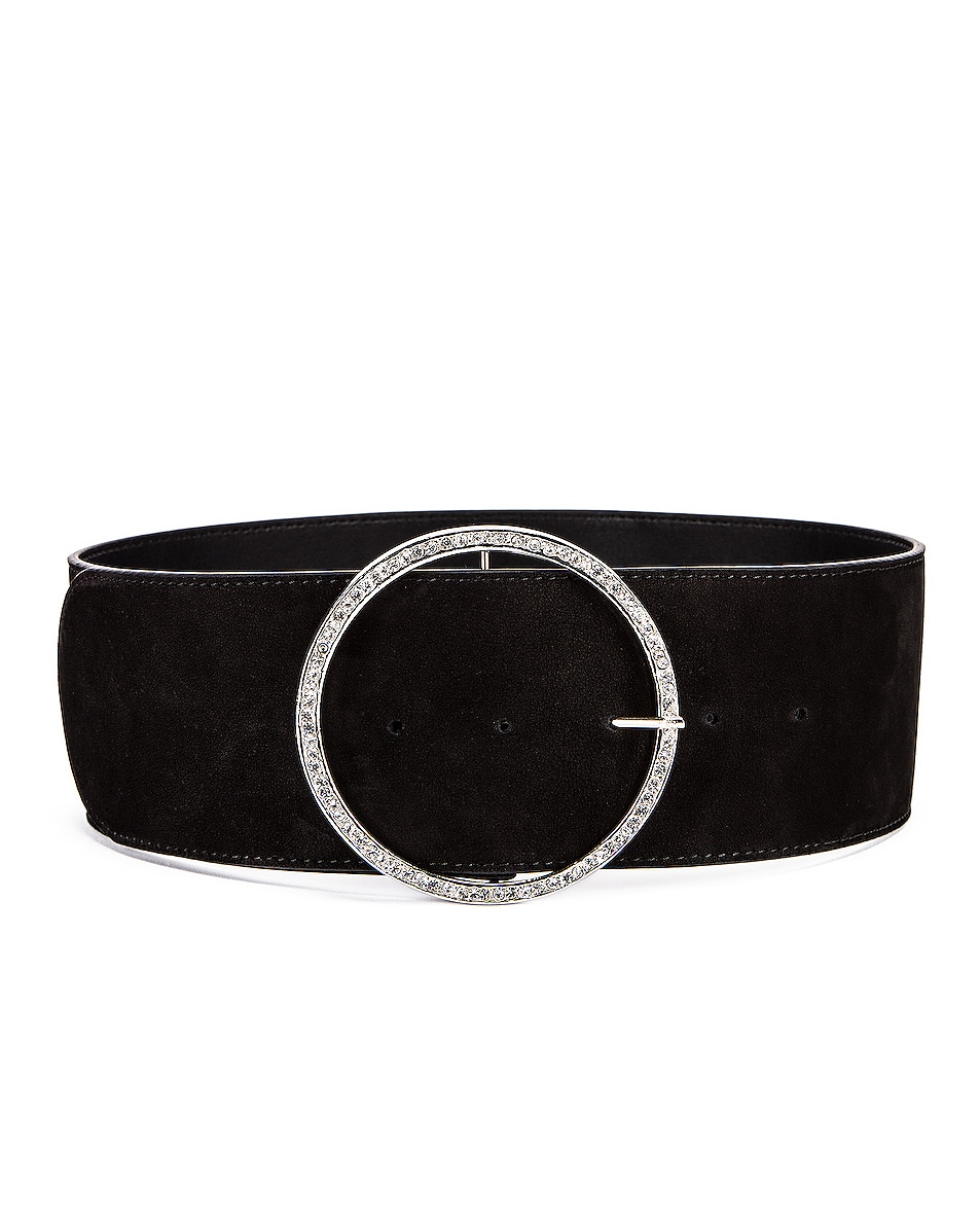 Image 1 of Alessandra Rich Circular Jewel Buckle Suede Belt in Black