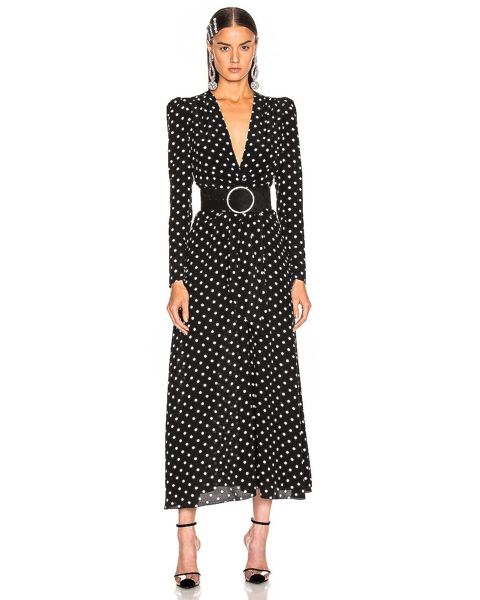 Image 2 of Alessandra Rich Circular Jewel Buckle Suede Belt in Black