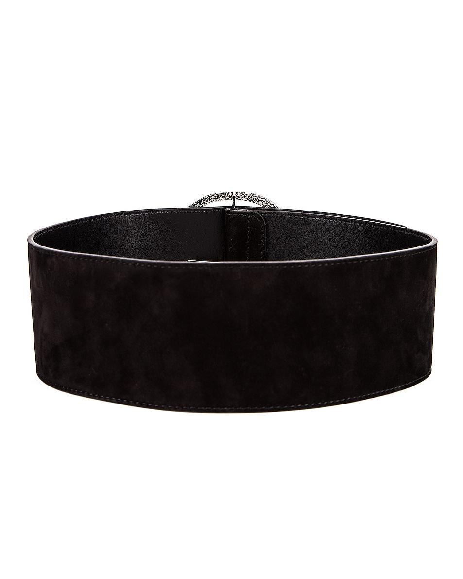 Image 3 of Alessandra Rich Circular Jewel Buckle Suede Belt in Black