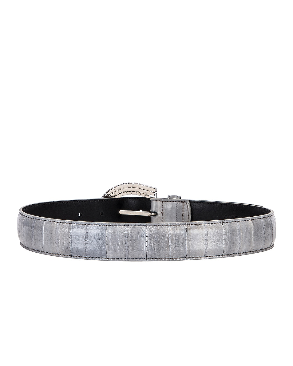 Image 3 of Alessandra Rich Jewel Buckle Anguilla Belt in Lavender