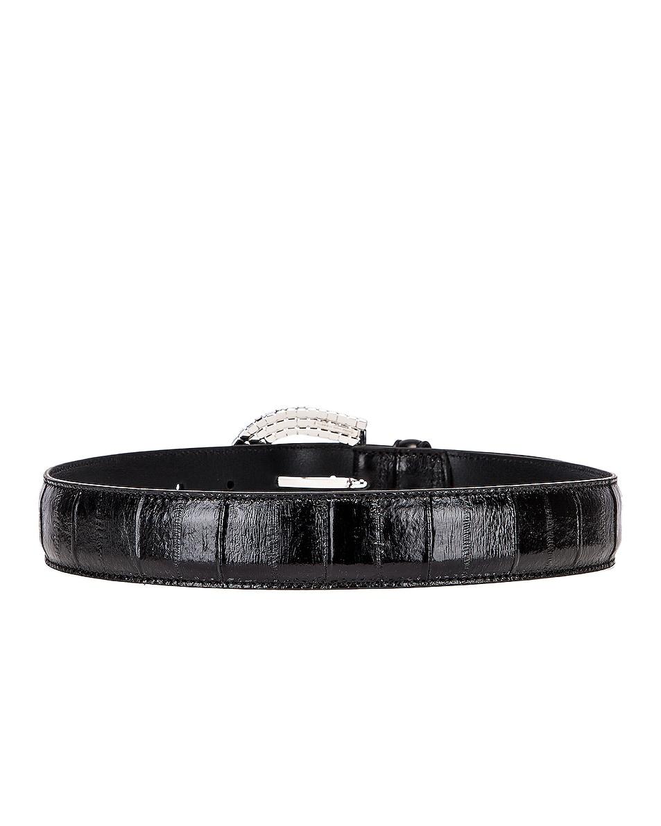 Image 3 of Alessandra Rich Jewel Buckle Anguilla Belt in Black