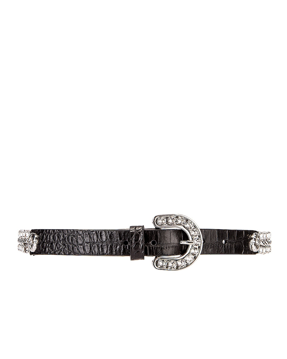 Image 3 of Alessandra Rich Leather & Crystal Cowboy Belt in Black