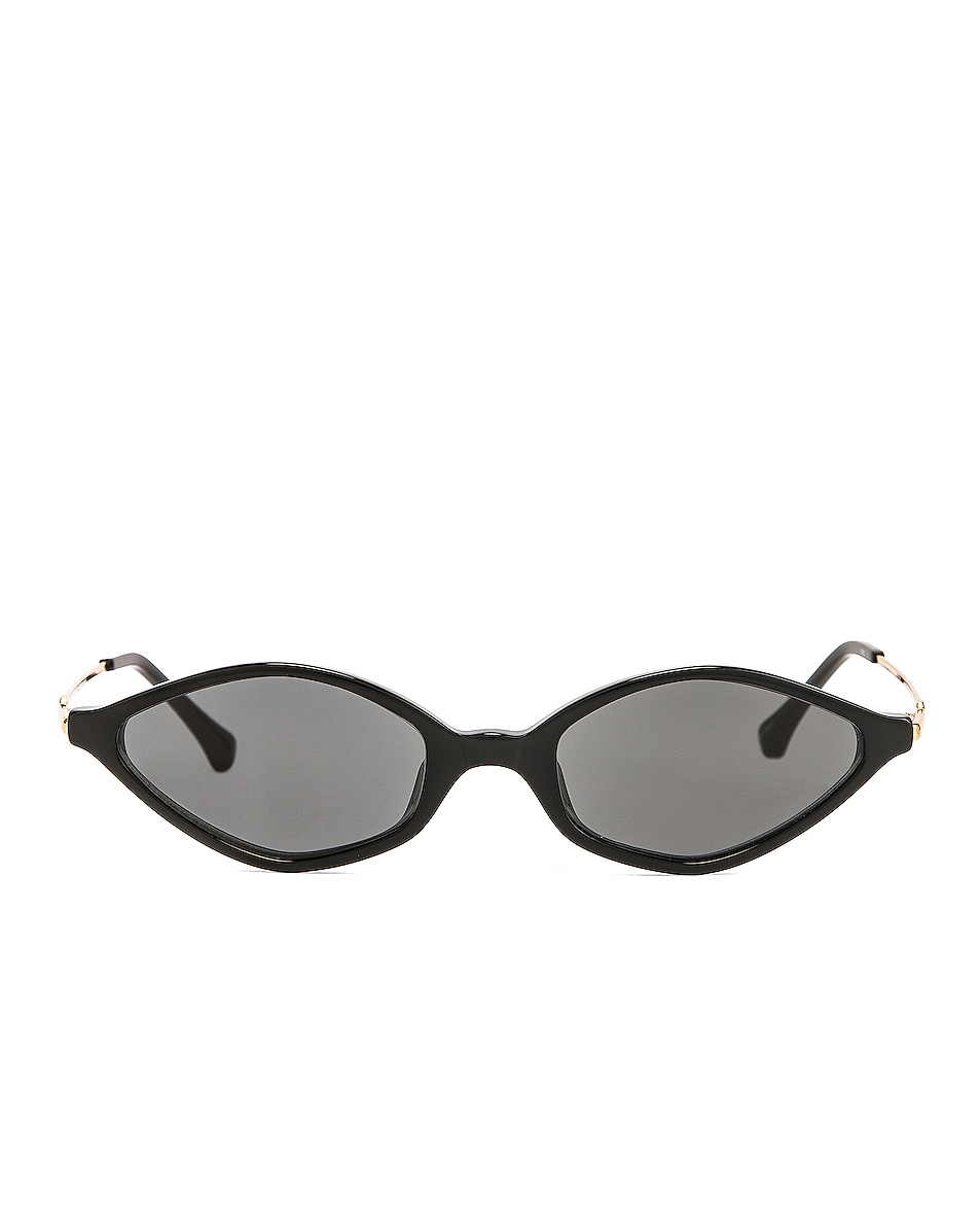 Image 1 of Alessandra Rich Small Cateye Sunglasses in Black, Yellow Gold & Grey