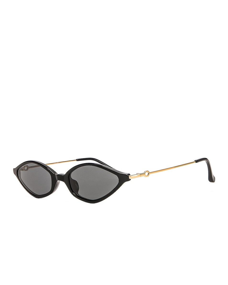 Image 2 of Alessandra Rich Small Cateye Sunglasses in Black, Yellow Gold & Grey