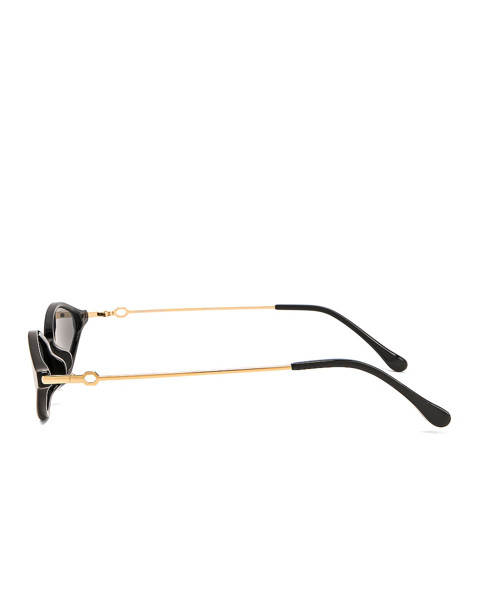 Image 3 of Alessandra Rich Small Cateye Sunglasses in Black, Yellow Gold & Grey