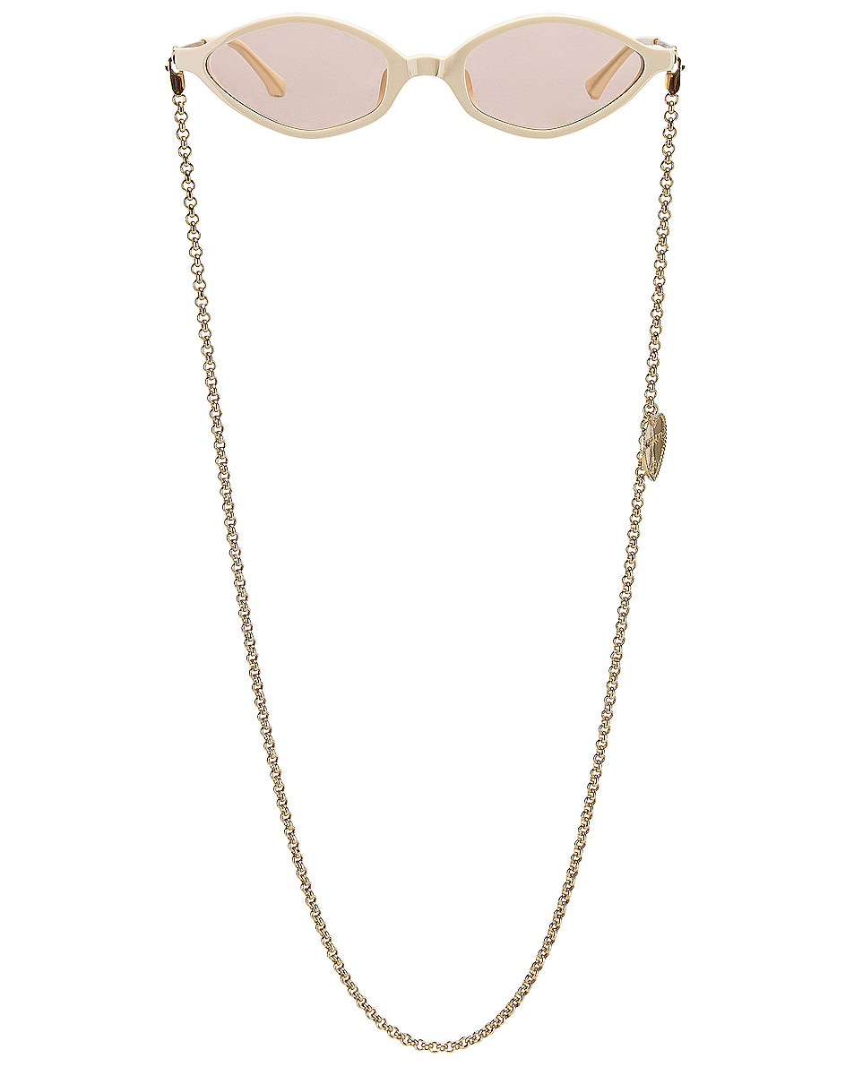 Image 1 of Alessandra Rich Small Cateye Sunglasses in Ivory, Yellow Gold & Nude