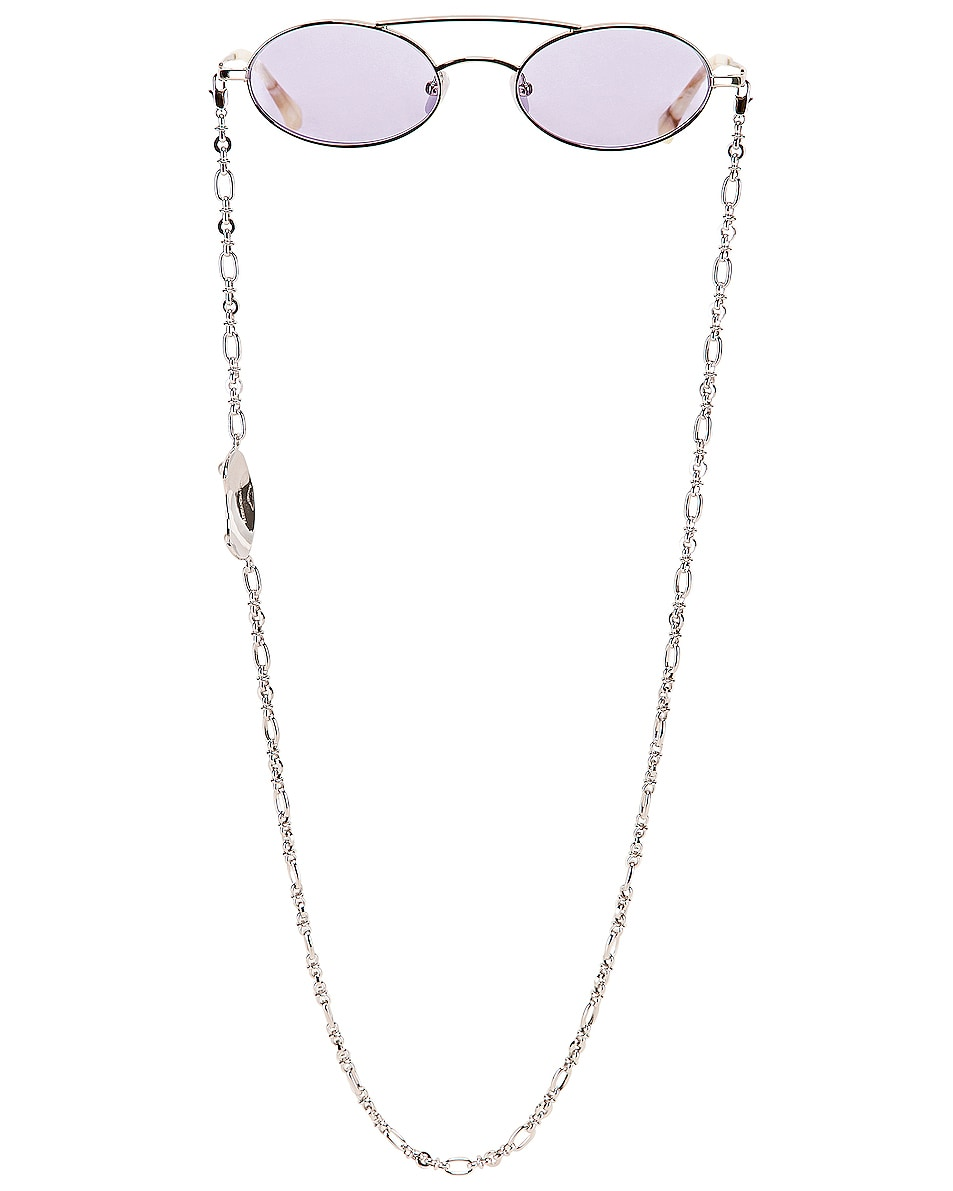 Image 1 of Alessandra Rich Small Oval Sunglasses in Silver & Lilac