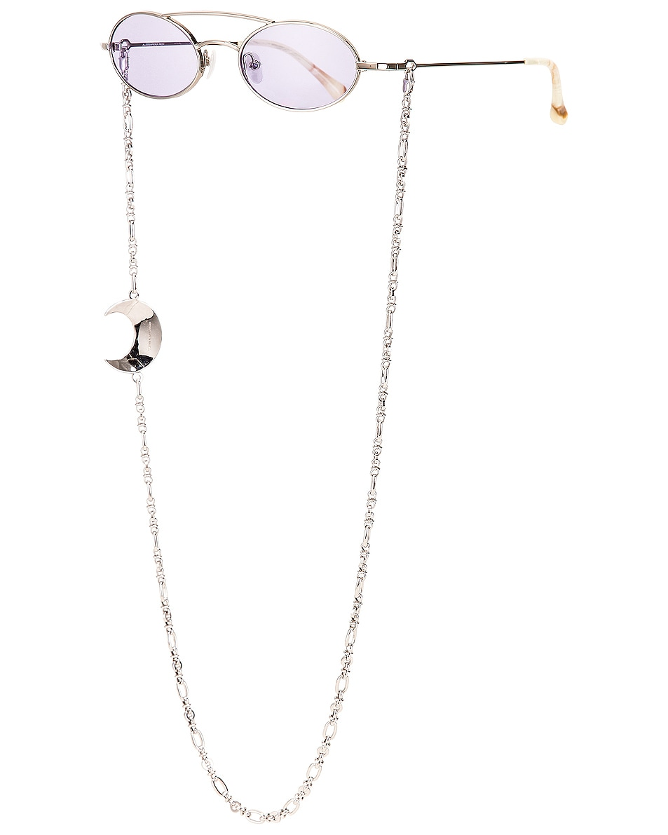 Image 2 of Alessandra Rich Small Oval Sunglasses in Silver & Lilac