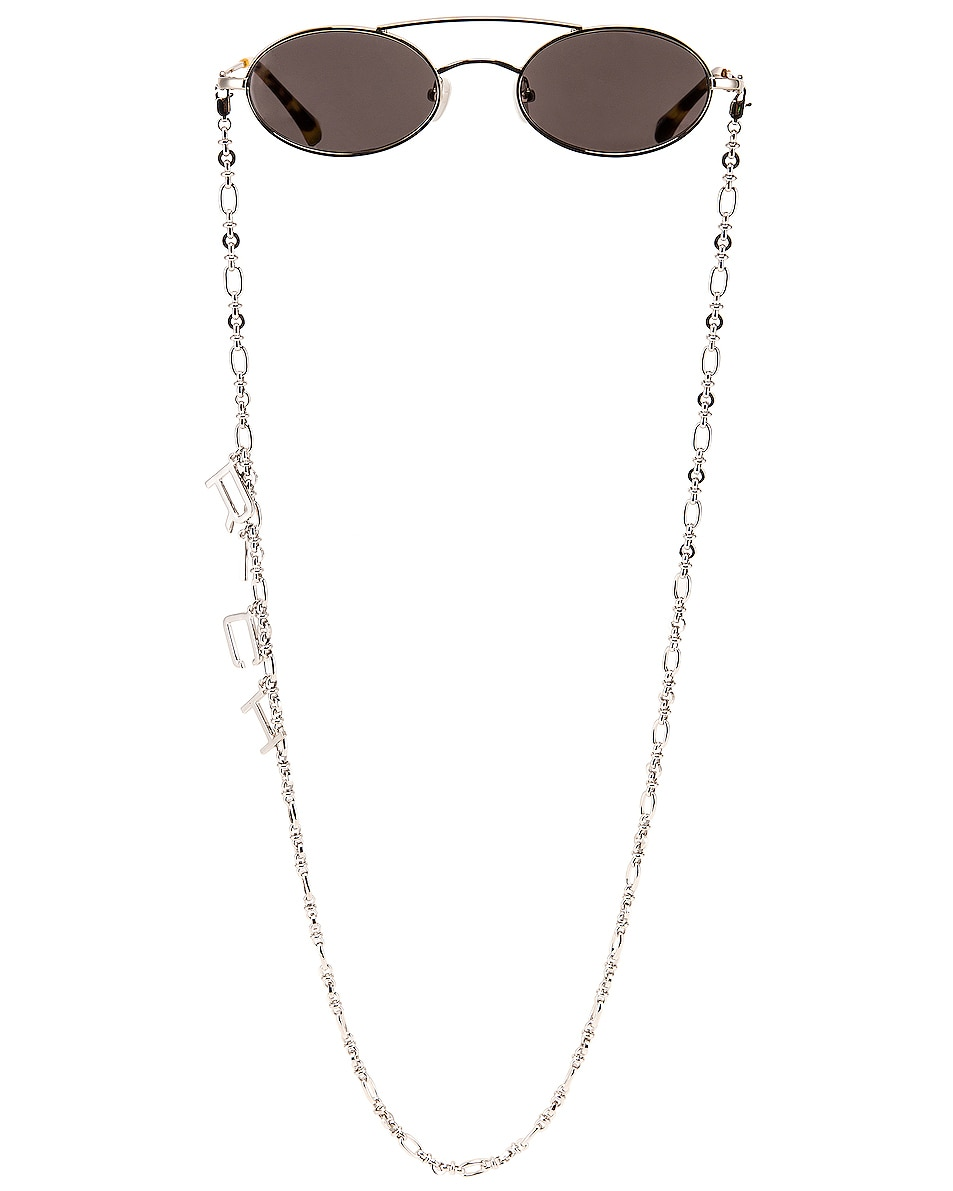 Image 1 of Alessandra Rich Small Oval Sunglasses in Silver & Grey