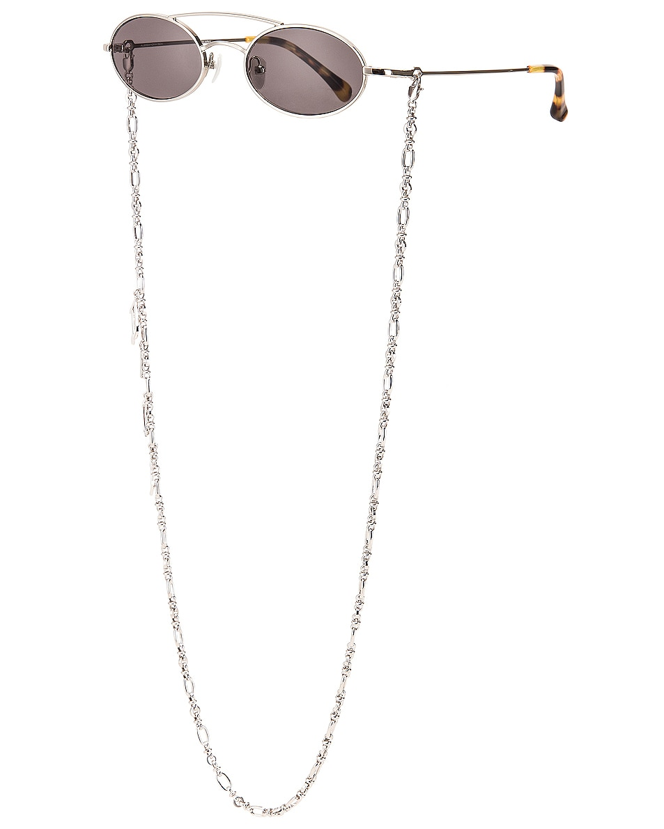 Image 2 of Alessandra Rich Small Oval Sunglasses in Silver & Grey