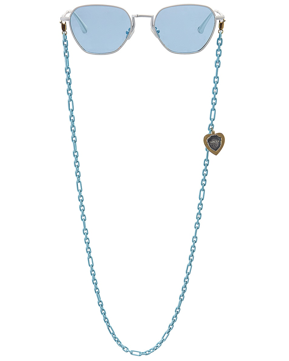 Image 1 of Alessandra Rich Square Sunglasses in White & Sky Blue