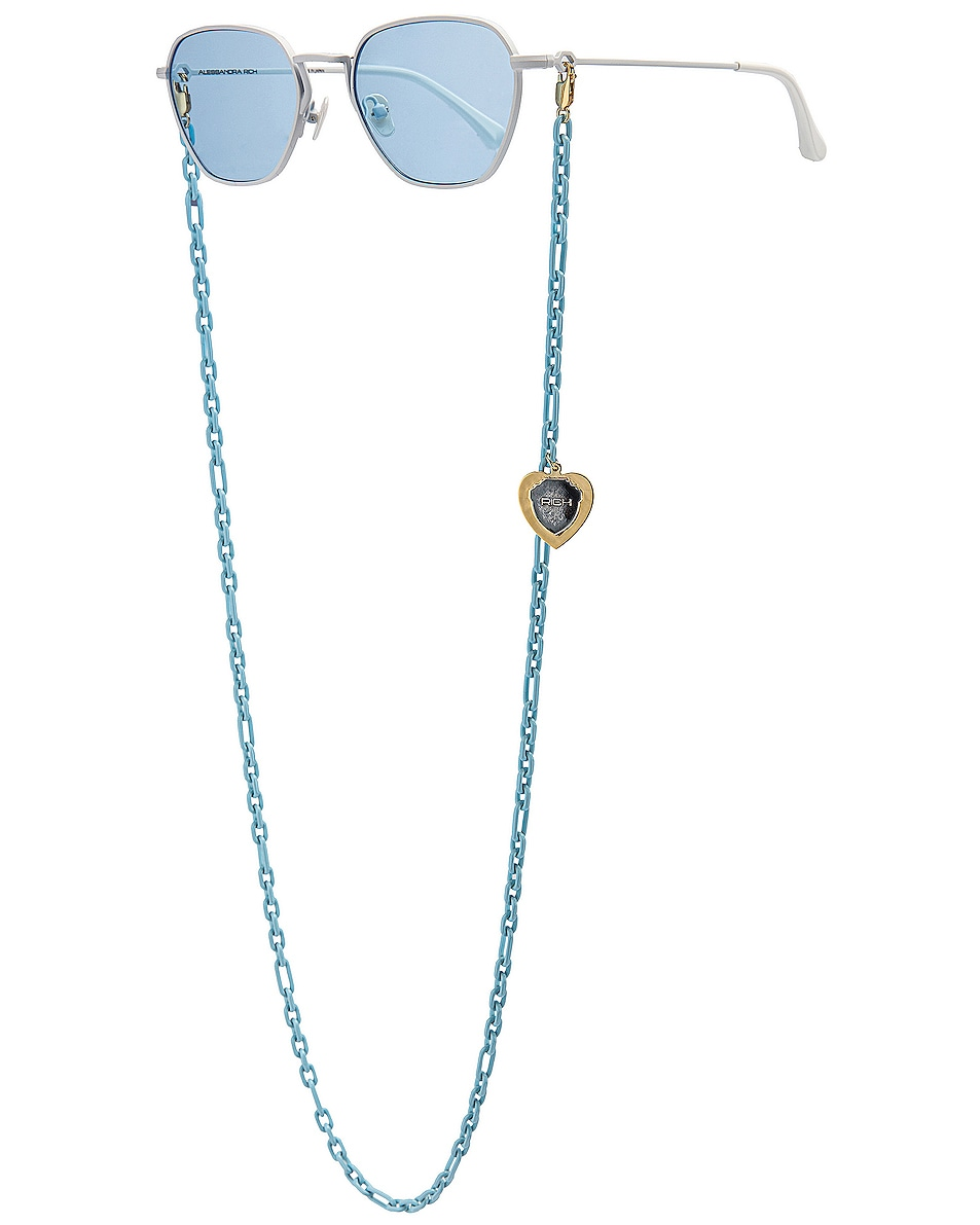 Image 2 of Alessandra Rich Square Sunglasses in White & Sky Blue
