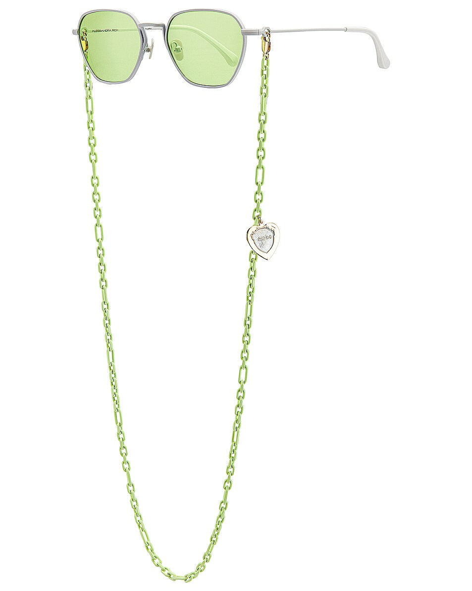 Image 2 of Alessandra Rich Square Sunglasses in White & Chartreuse Green