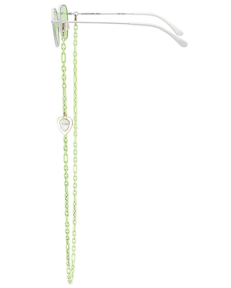 Image 3 of Alessandra Rich Square Sunglasses in White & Chartreuse Green