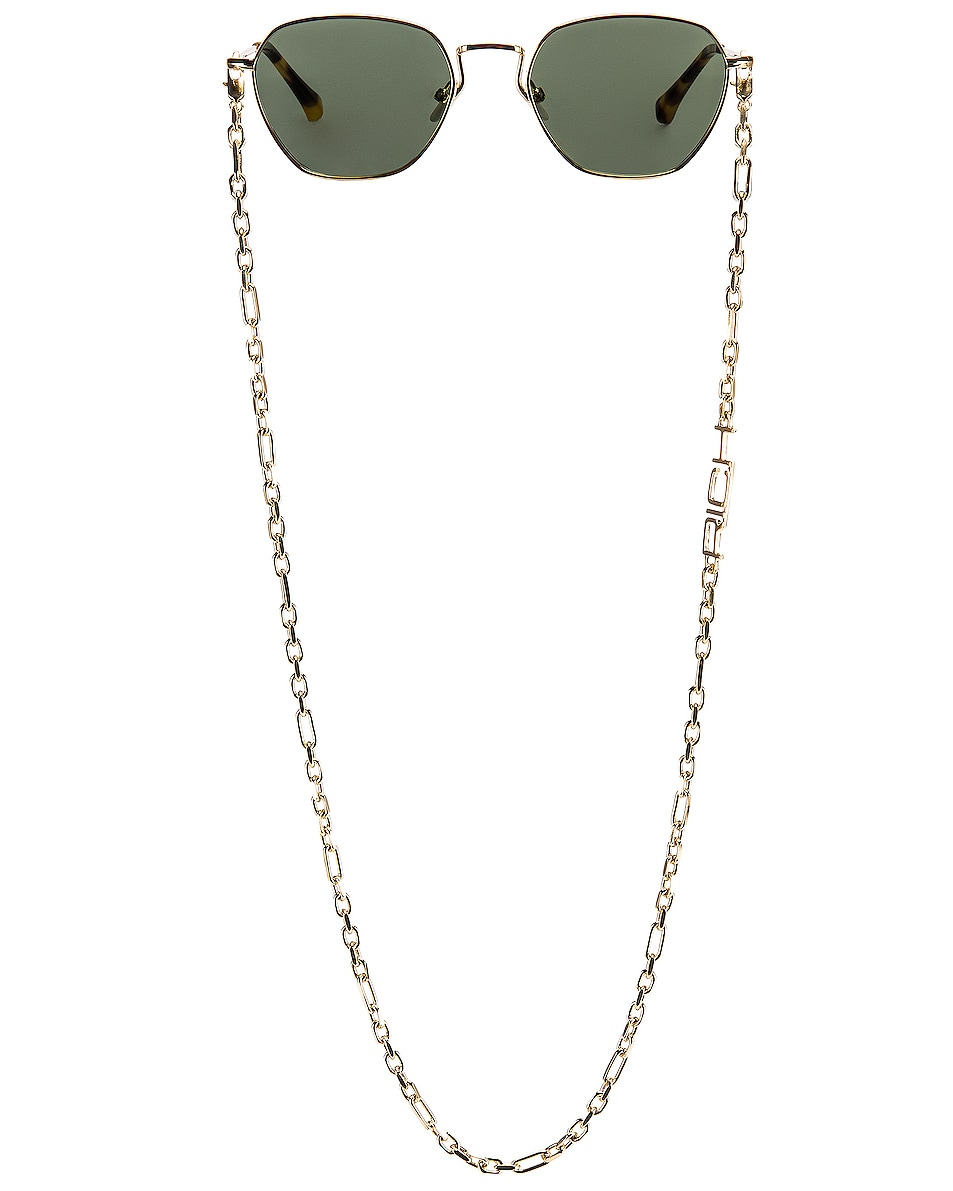 Image 1 of Alessandra Rich Round Sunglasses in Yellow Gold, Tortoise Shell & Green
