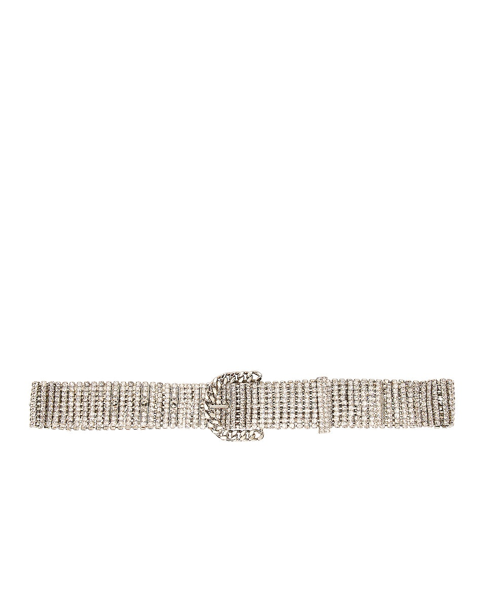 Image 1 of Alessandra Rich Crystal Round Buckle Belt in Silver