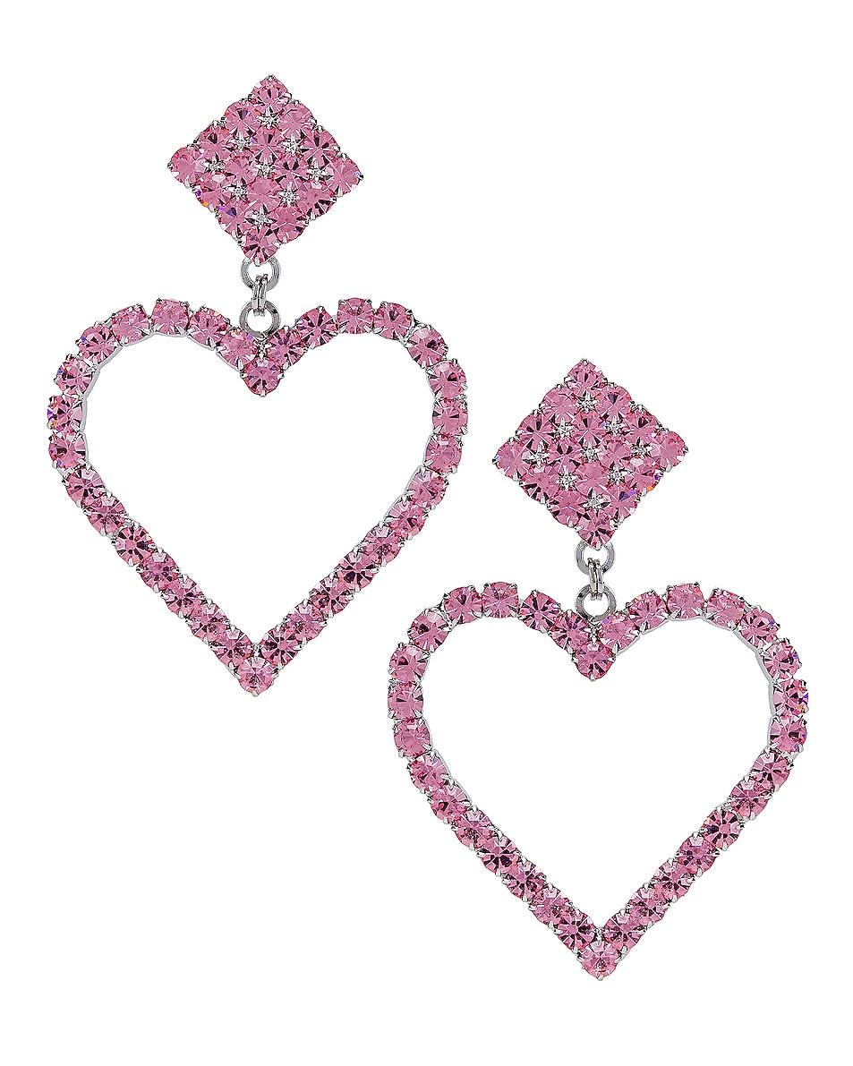 Image 1 of Alessandra Rich Heart Earrings in Pink