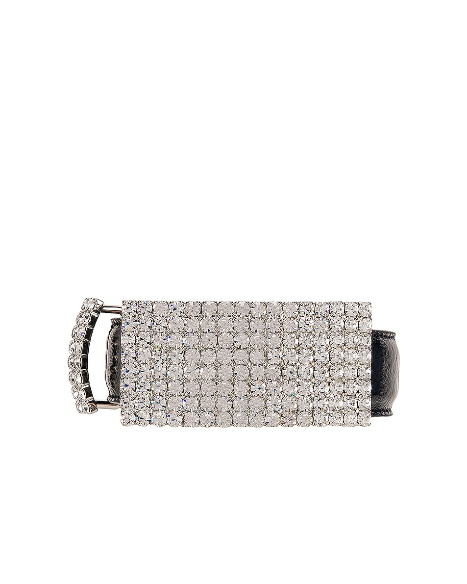 Alessandra Rich Leather & Crystal Belt
