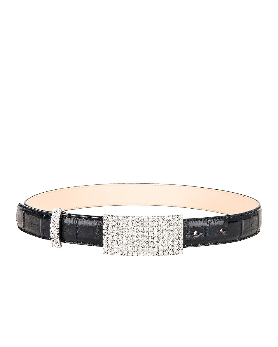 Image 2 of Alessandra Rich Leather & Crystal Belt in Navy Blue