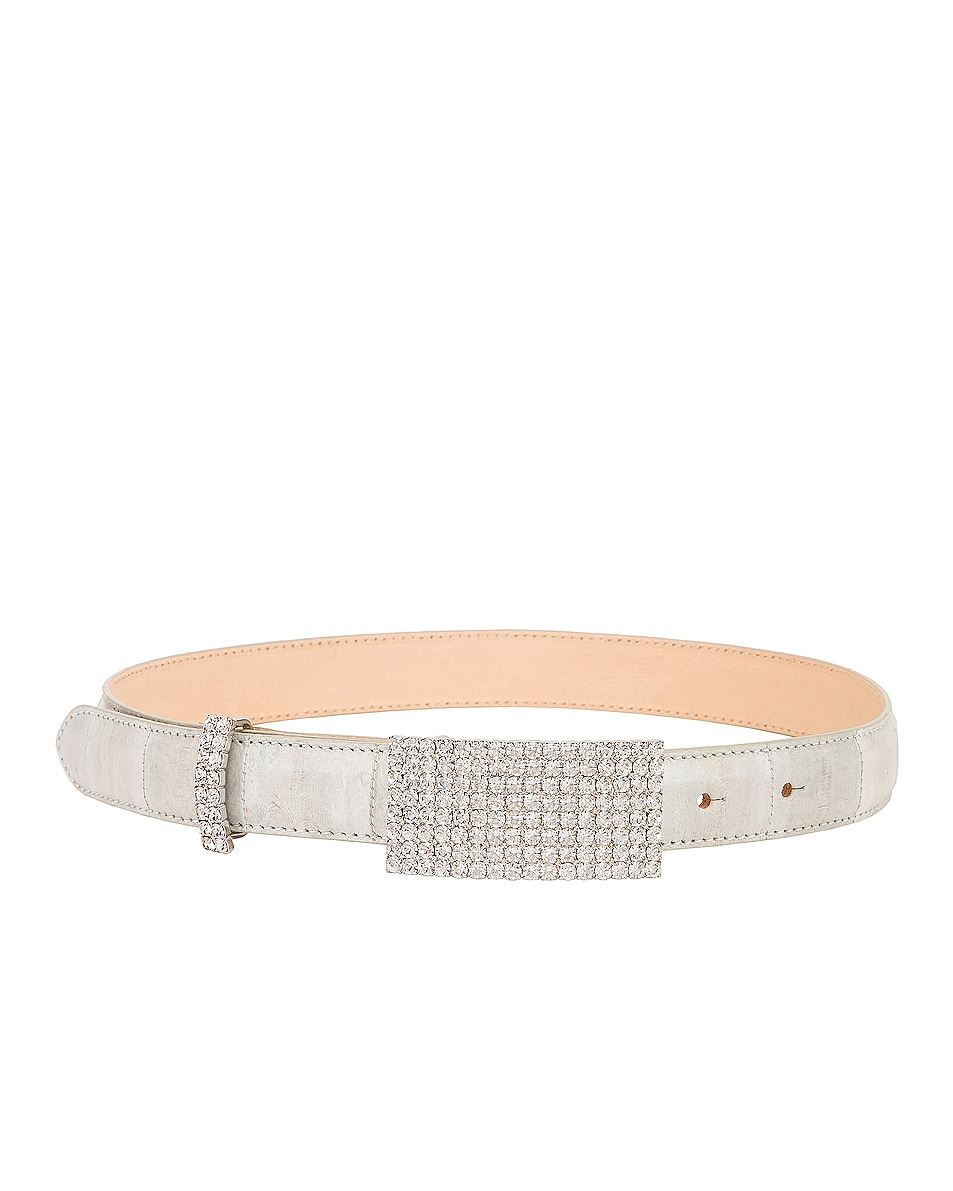 Image 2 of Alessandra Rich Leather & Crystal Belt in Smoke