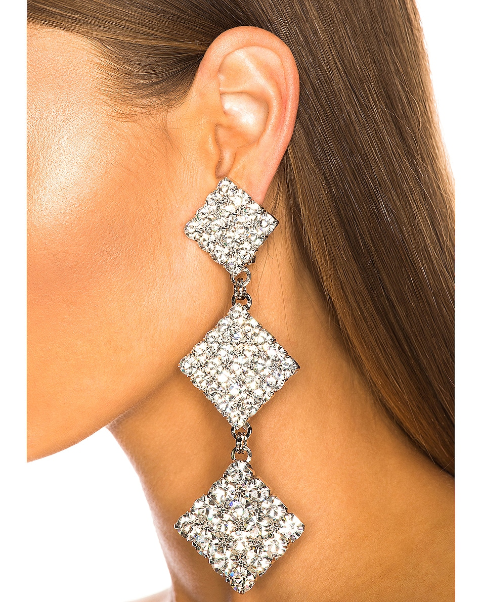 Image 4 of Alessandra Rich Long Crystal Dangle Earrings in Crystal