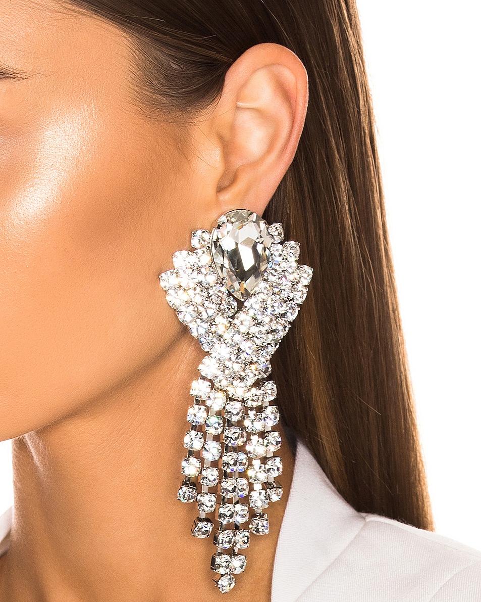 Image 2 of Alessandra Rich Ribbon Earrings in Silver