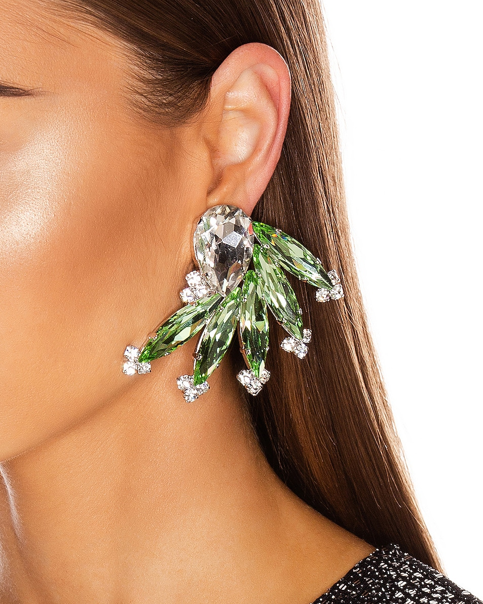 Image 2 of Alessandra Rich Wing Earrings in Green