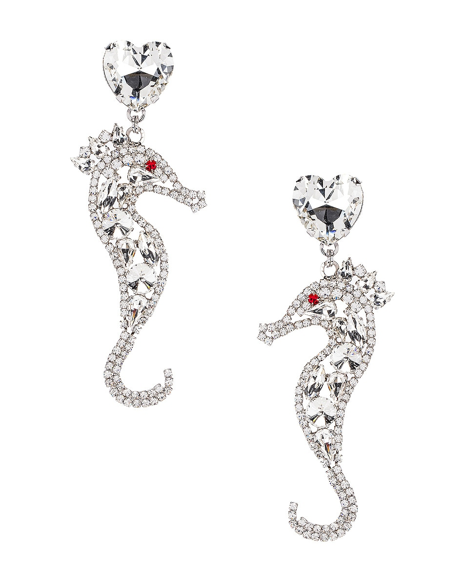 Image 1 of Alessandra Rich Seahorse Earrings in Silver