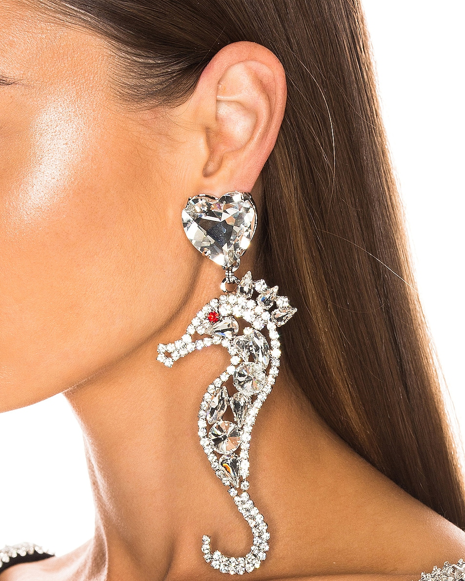 Image 2 of Alessandra Rich Seahorse Earrings in Silver